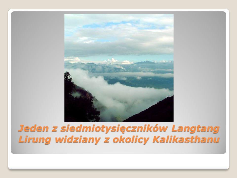 Jeden z siedmiotysięczników Langtang Lirung widziany z okolicy Kalikasthanu Jeden z siedmiotysięczników Langtang Lirung widziany z okolicy Kalikasthan