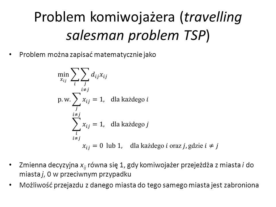 Problem komiwojażera (travelling salesman problem TSP) Problem można zapisać matematycznie jako Zmienna decyzyjna x ij równa się 1, gdy komiwojażer przejeżdża z miasta i do miasta j, 0 w przeciwnym przypadku Możliwość przejazdu z danego miasta do tego samego miasta jest zabroniona