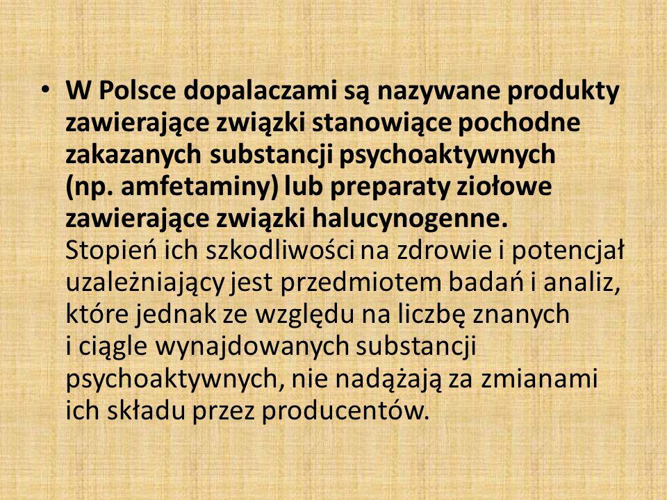 W Polsce dopalaczami są nazywane produkty zawierające związki stanowiące pochodne zakazanych substancji psychoaktywnych (np. amfetaminy) lub preparaty