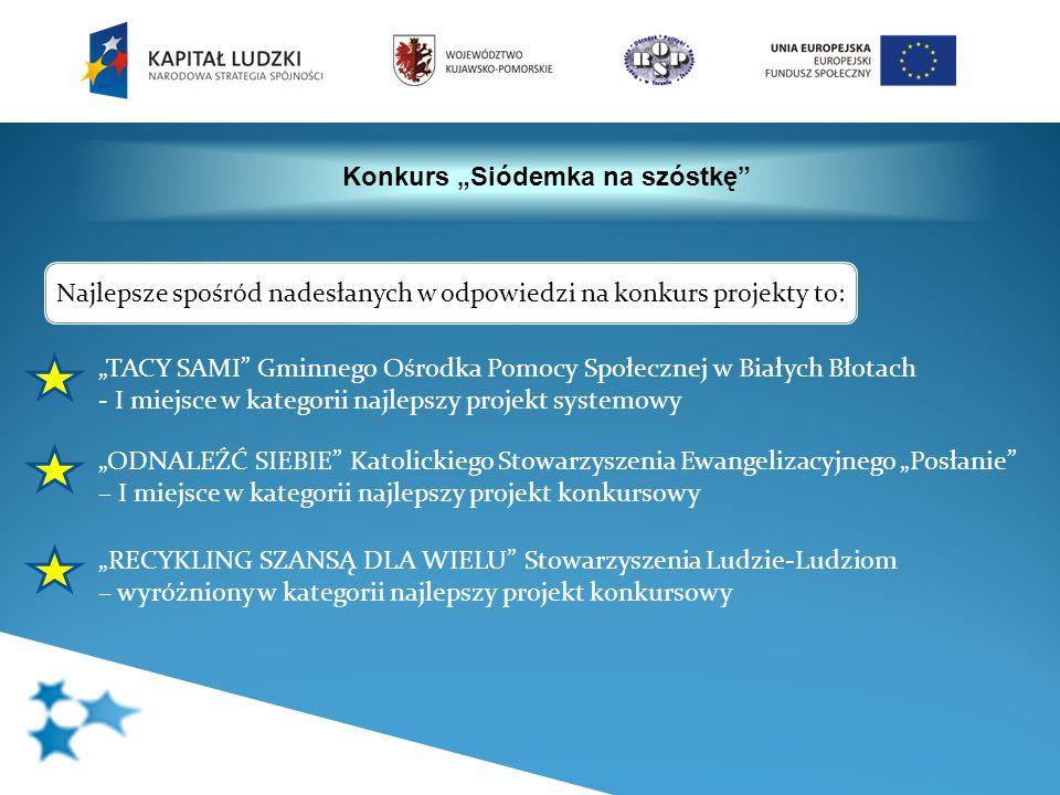 Konkurs Siódemka na szóstkę TACY SAMI Gminnego Ośrodka Pomocy Społecznej w Białych Błotach - I miejsce w kategorii najlepszy projekt systemowy ODNALEŹ