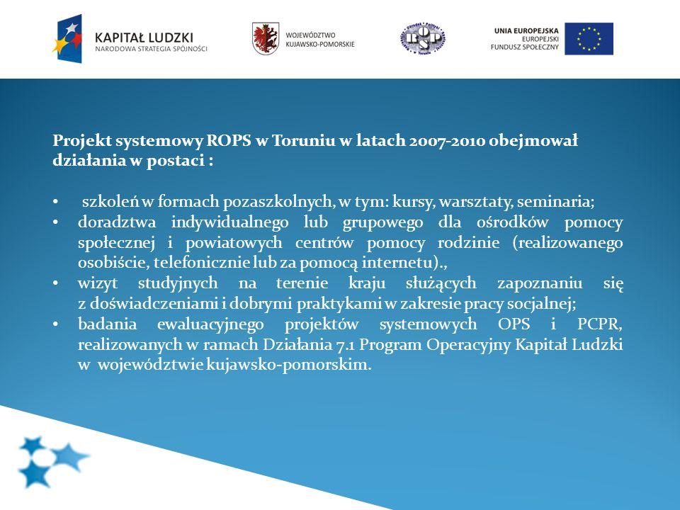 Projekt systemowy ROPS w Toruniu w latach 2007-2010 obejmował działania w postaci : szkoleń w formach pozaszkolnych, w tym: kursy, warsztaty, seminari