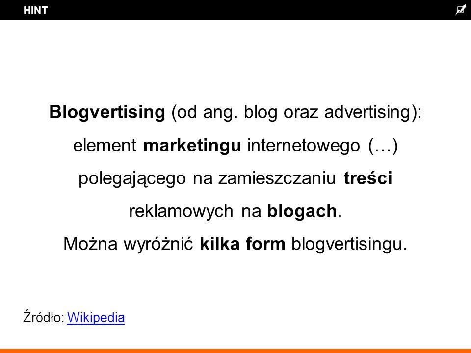 HINT Blogvertising (od ang.