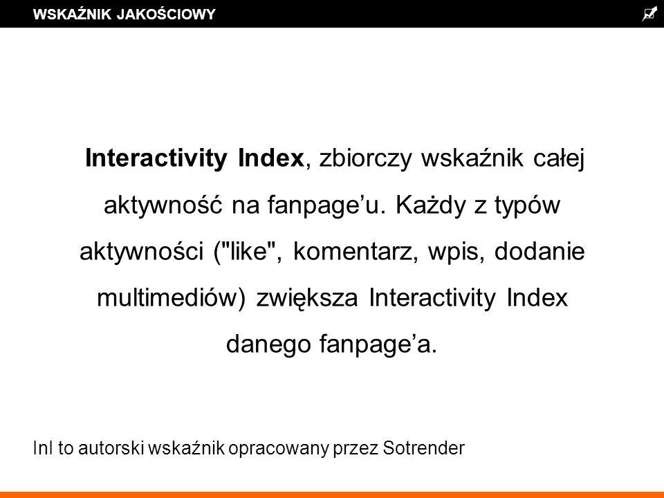 WSKAŹNIK JAKOŚCIOWY Interactivity Index, zbiorczy wskaźnik całej aktywność na fanpageu.