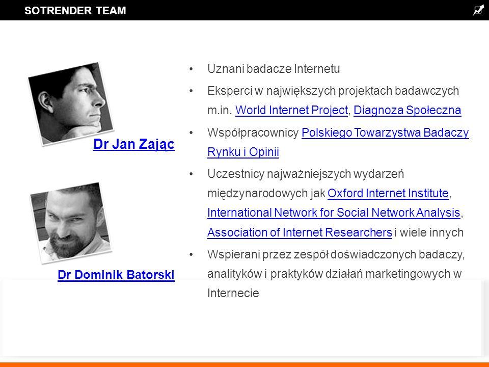 SOTRENDER TEAM Dr Dominik Batorski Dr Jan Zając Uznani badacze Internetu Eksperci w największych projektach badawczych m.in.