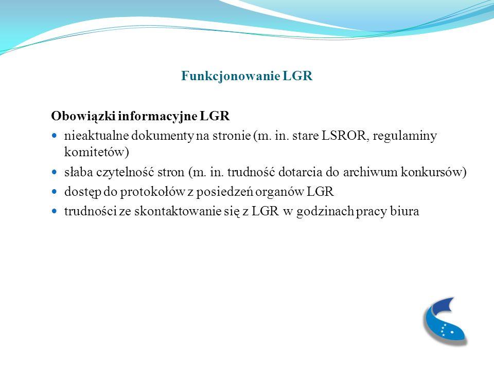 Funkcjonowanie LGR Obowiązki informacyjne LGR nieaktualne dokumenty na stronie (m.