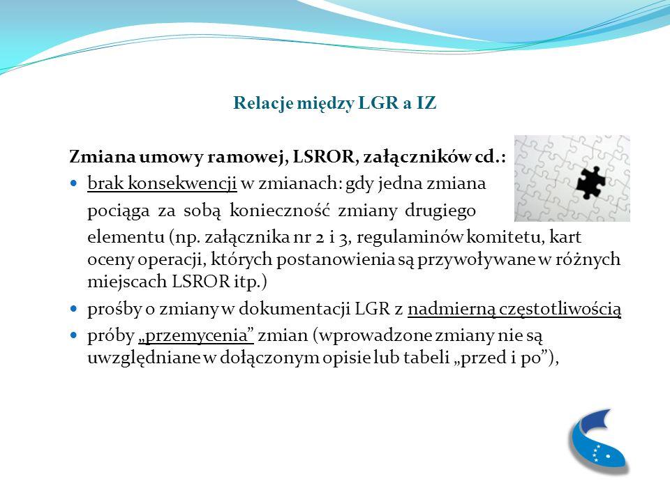 Relacje między LGR a IZ Zmiana umowy ramowej, LSROR, załączników cd.: brak konsekwencji w zmianach: gdy jedna zmiana pociąga za sobą konieczność zmiany drugiego elementu (np.