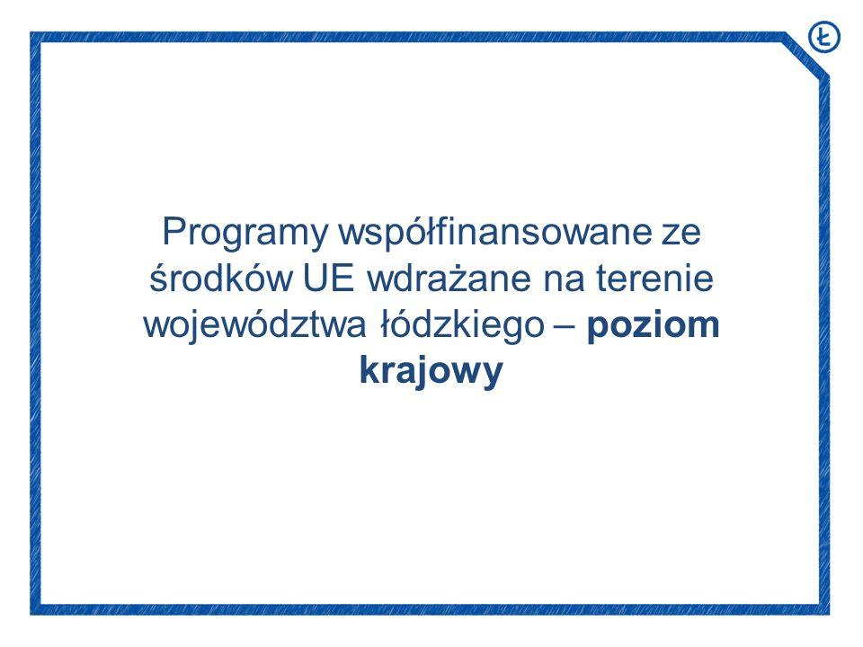 Programy współfinansowane ze środków UE wdrażane na terenie województwa łódzkiego – poziom krajowy
