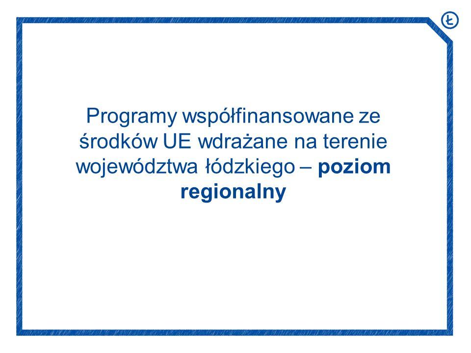 Programy współfinansowane ze środków UE wdrażane na terenie województwa łódzkiego – poziom regionalny