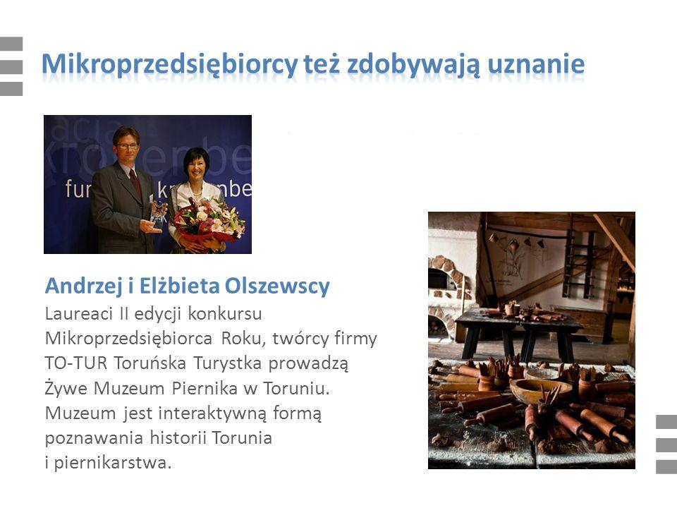 Andrzej i Elżbieta Olszewscy Laureaci II edycji konkursu Mikroprzedsiębiorca Roku, twórcy firmy TO-TUR Toruńska Turystka prowadzą Żywe Muzeum Piernika w Toruniu.