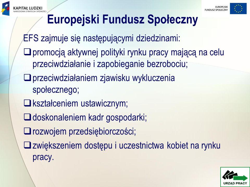 Europejski Fundusz Społeczny EFS zajmuje się następującymi dziedzinami: promocją aktywnej polityki rynku pracy mającą na celu przeciwdziałanie i zapob
