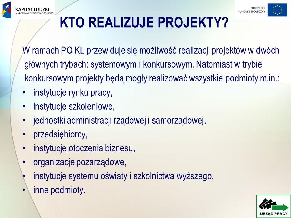 KTO REALIZUJE PROJEKTY? W ramach PO KL przewiduje się możliwość realizacji projektów w dwóch głównych trybach: systemowym i konkursowym. Natomiast w t