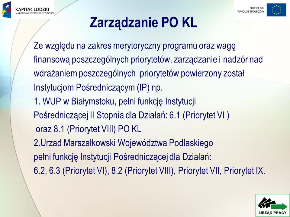 Zarządzanie PO KL Ze względu na zakres merytoryczny programu oraz wagę finansową poszczególnych priorytetów, zarządzanie i nadzór nad wdrażaniem poszc
