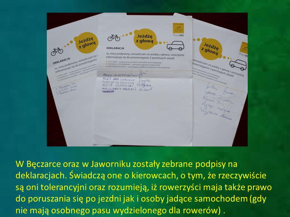 W Bęczarce oraz w Jaworniku zostały zebrane podpisy na deklaracjach.