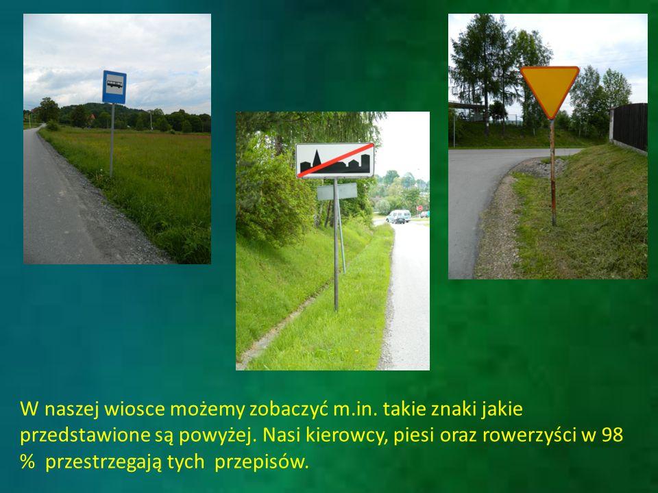 W naszej wiosce możemy zobaczyć m.in. takie znaki jakie przedstawione są powyżej.