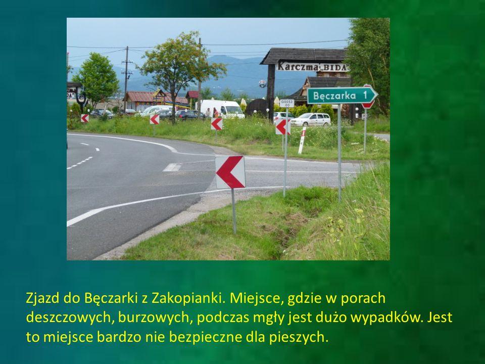 Jeden z wypadku przy zjeździe z Zakopianki do Bęczarki, jednakże ta kolizja została spowodowana przez mieszkańca Katowic, a nie tubylca.