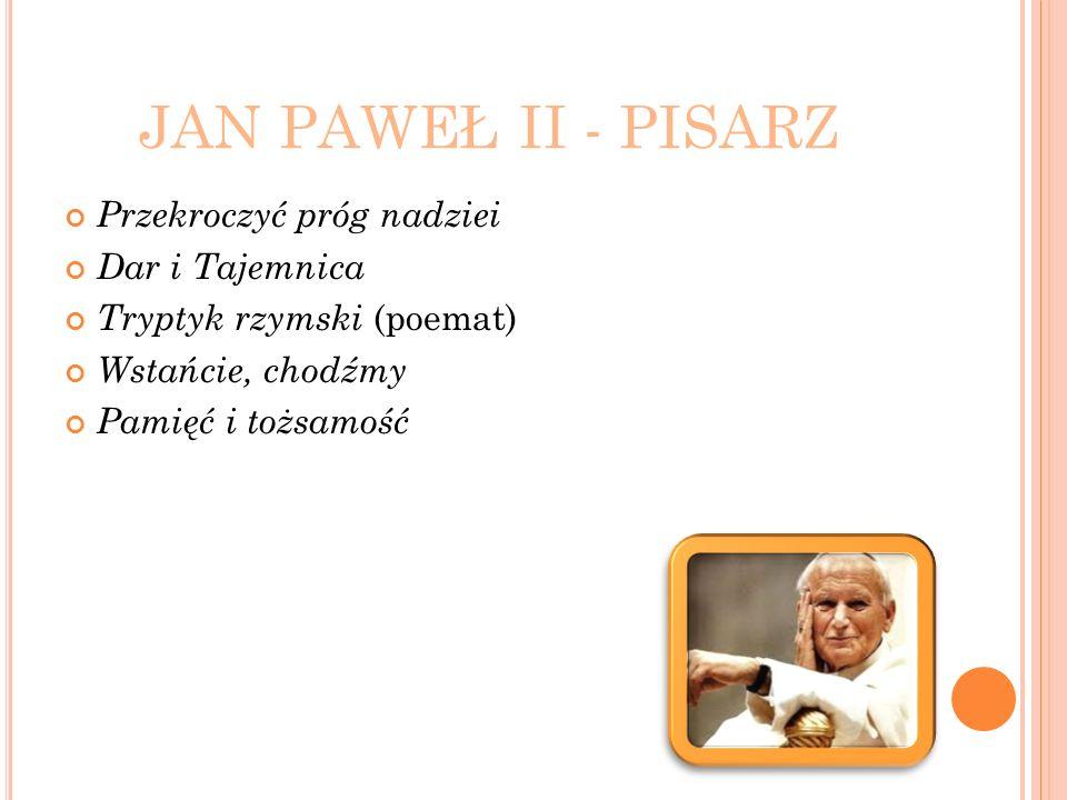JAN PAWEŁ II - PISARZ Przekroczyć próg nadziei Dar i Tajemnica Tryptyk rzymski (poemat) Wstańcie, chodźmy Pamięć i tożsamość