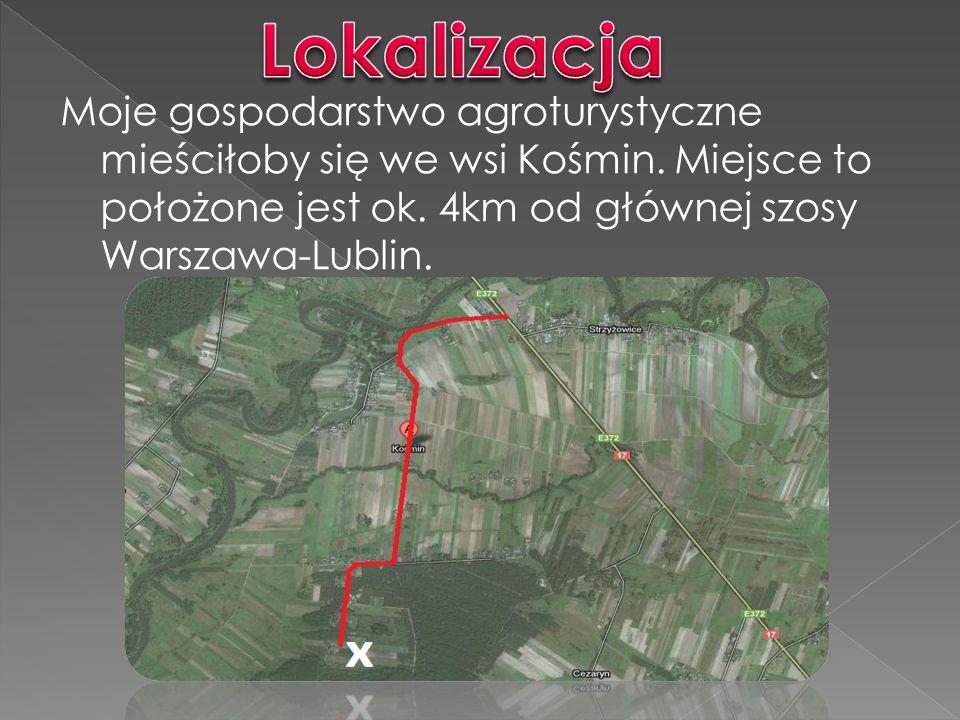 Moje gospodarstwo agroturystyczne mieściłoby się we wsi Kośmin.