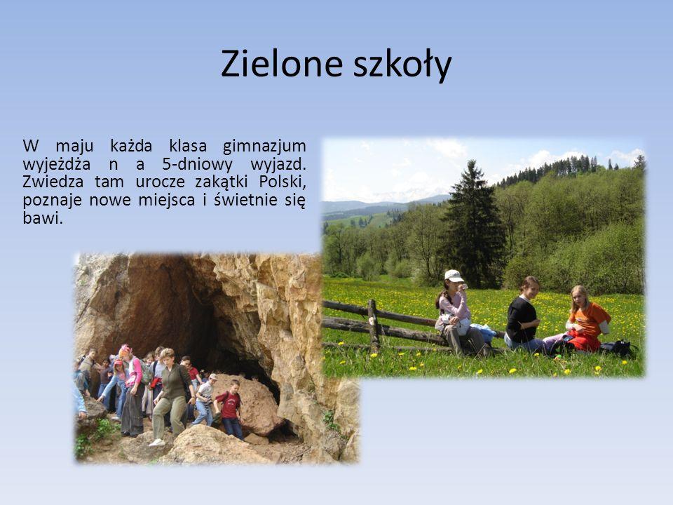 Zielone szkoły W maju każda klasa gimnazjum wyjeżdża n a 5-dniowy wyjazd. Zwiedza tam urocze zakątki Polski, poznaje nowe miejsca i świetnie się bawi.