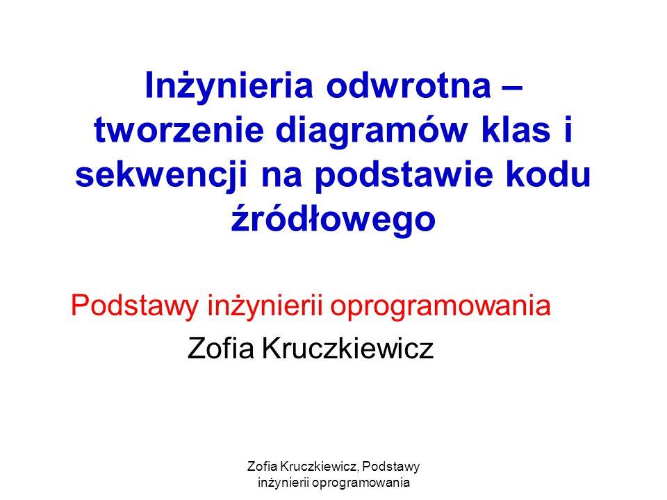 Zofia Kruczkiewicz, Podstawy inżynierii oprogramowania Inżynieria odwrotna – tworzenie diagramów klas i sekwencji na podstawie kodu źródłowego Podstawy inżynierii oprogramowania Zofia Kruczkiewicz