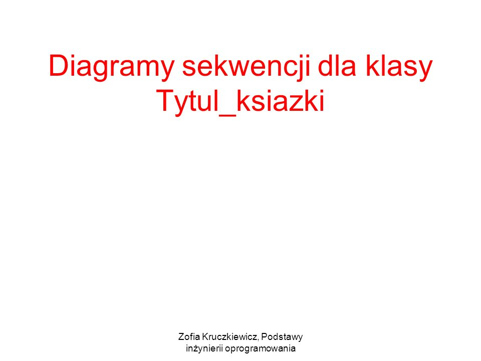 Zofia Kruczkiewicz, Podstawy inżynierii oprogramowania Diagramy sekwencji dla klasy Tytul_ksiazki