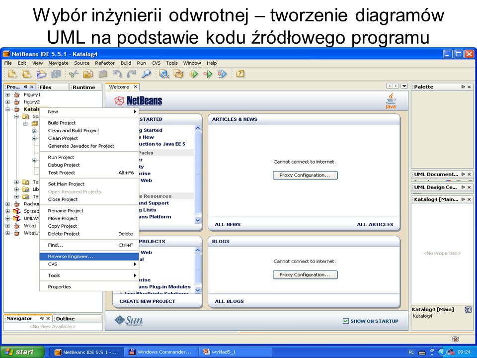 Zofia Kruczkiewicz, Podstawy inżynierii oprogramowania public void dodaj_ksiazke(int numer_) { Ksiazka nowa= new Ksiazka(); if (nowa != null) { nowa.setNumer(numer_); addKsiazka(nowa);} } Bez poprawek – po procesie Reverse Engineering Kod do procesu Reverse Engineering