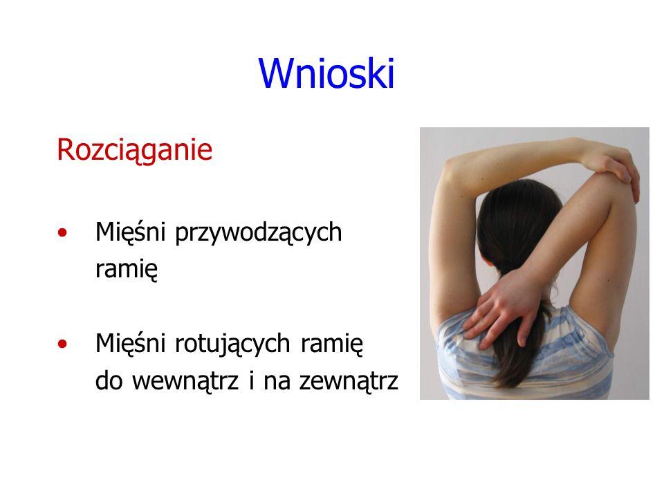 Wnioski Rozciąganie Mięśni przywodzących ramię Mięśni rotujących ramię do wewnątrz i na zewnątrz