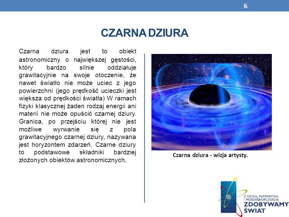 CZARNA DZIURA Czarna dziura jest to obiekt astronomiczny o największej gęstości, który bardzo silnie oddziałuje grawitacyjnie na swoje otoczenie, że n