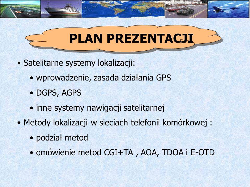 Przykłady usług dostępnych w Polsce: ERA - zarządzanie flotą, ERA – WAP PLUS - satelitarny system monitoringu pojazdów (Liberty) IDEA - co, gdzie, którędy ELTE - przegląd ofert systemów opartych na GPS PLAN PREZENTACJI
