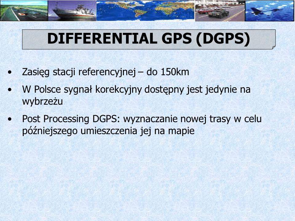 Nie ma potrzeby użycia drogich odbiorników DGPS Rolę odbiornika DGPS odgrywa tracking office, Niezbędne elementy: jedna stacja referencyjna, komputer, standardowe odbiorniki GPS, oraz połączenie między centrum obliczeniowym i odbiornikami INVERTED DGPS