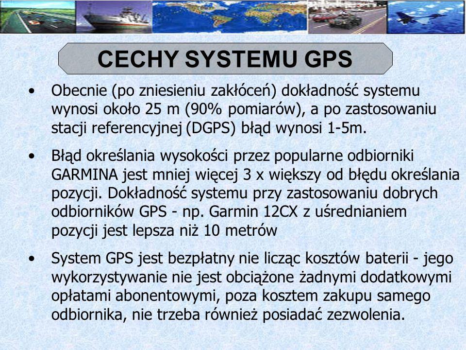 BUDOWA SYSTEMU GPS segment sterowania (stacje naziemne) segment kosmiczny (satelity) segment użytkownika (odbiornik)