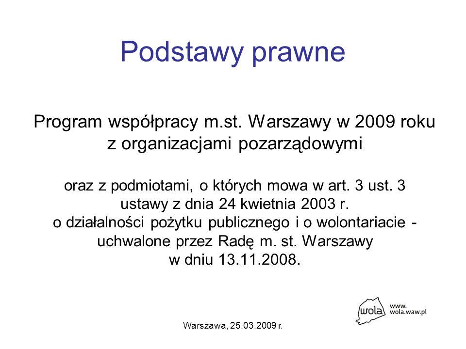 Warszawa, 25.03.2009 r. Podstawy prawne Program współpracy m.st.