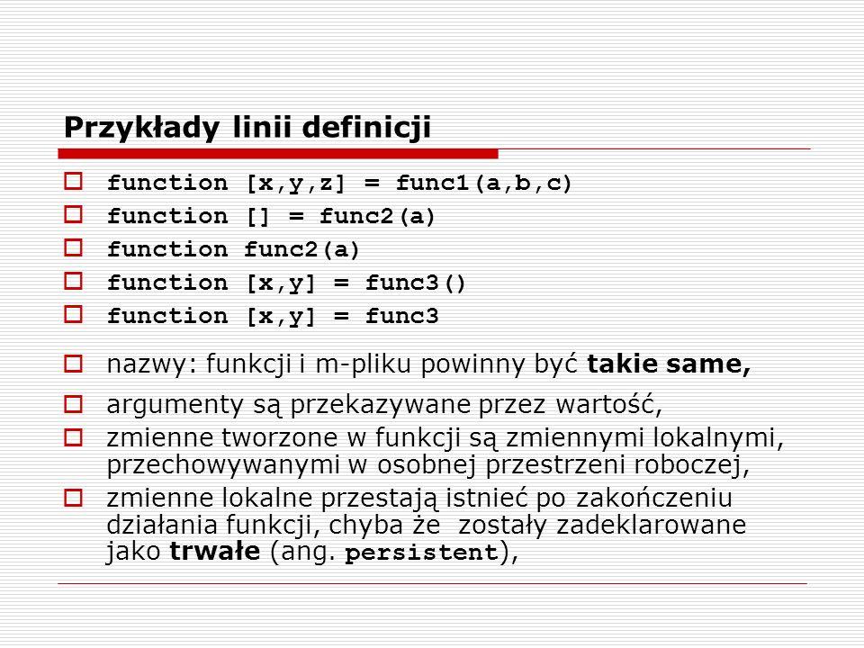 Przykłady linii definicji function [x,y,z] = func1(a,b,c) function [] = func2(a) function func2(a) function [x,y] = func3() function [x,y] = func3 nazwy: funkcji i m-pliku powinny być takie same, argumenty są przekazywane przez wartość, zmienne tworzone w funkcji są zmiennymi lokalnymi, przechowywanymi w osobnej przestrzeni roboczej, zmienne lokalne przestają istnieć po zakończeniu działania funkcji, chyba że zostały zadeklarowane jako trwałe (ang.