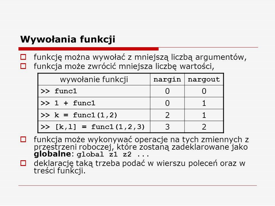 funkcję można wywołać z mniejszą liczbą argumentów, funkcja może zwrócić mniejsza liczbę wartości, funkcja może wykonywać operacje na tych zmiennych z przestrzeni roboczej, które zostaną zadeklarowane jako globalne: global z1 z2...
