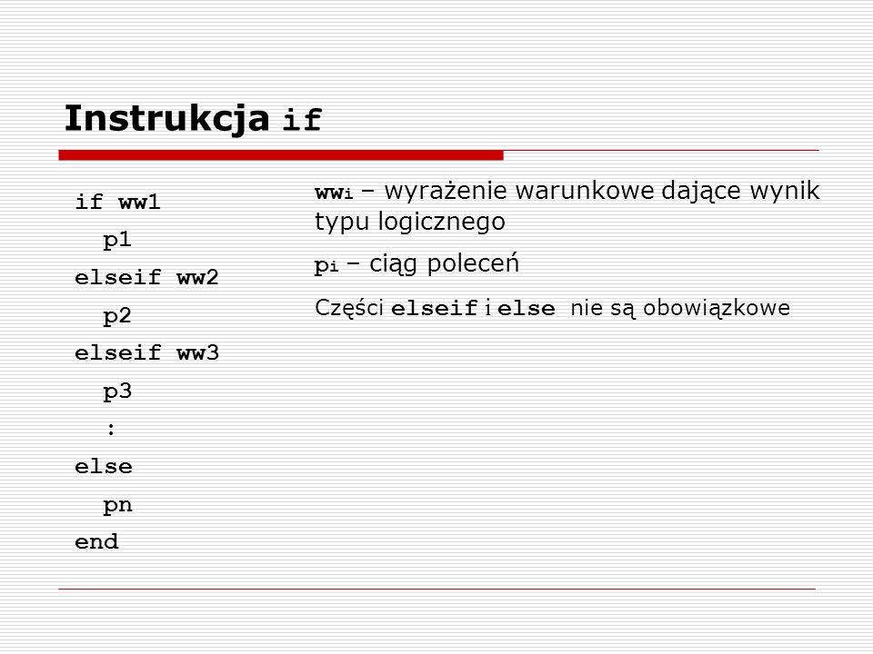 Instrukcja if if ww1 p1 elseif ww2 p2 elseif ww3 p3 : else pn end ww i – wyrażenie warunkowe dające wynik typu logicznego p i – ciąg poleceń Części elseif i else nie są obowiązkowe