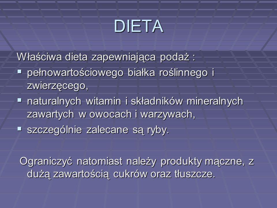 DIETA Właściwa dieta zapewniająca podaż : pełnowartościowego białka roślinnego i zwierzęcego, pełnowartościowego białka roślinnego i zwierzęcego, natu