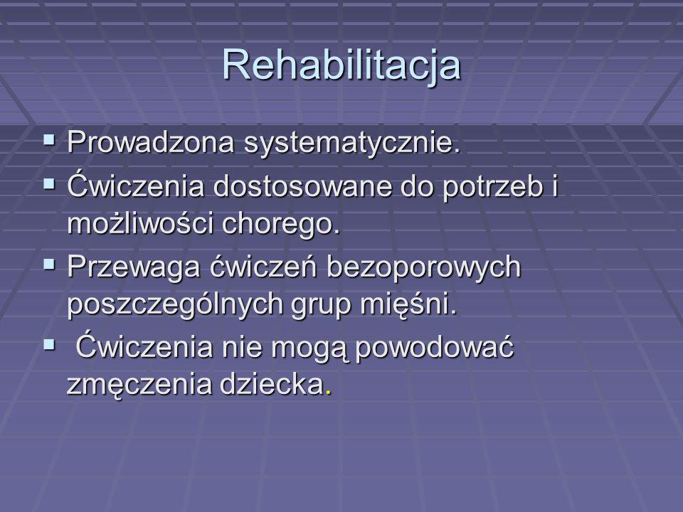 Rehabilitacja Prowadzona systematycznie. Prowadzona systematycznie. Ćwiczenia dostosowane do potrzeb i możliwości chorego. Ćwiczenia dostosowane do po