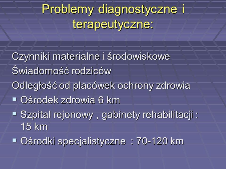 Problemy diagnostyczne i terapeutyczne: Czynniki materialne i środowiskowe Świadomość rodziców Odległość od placówek ochrony zdrowia Ośrodek zdrowia 6