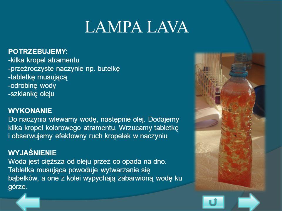 LAMPA LAVA POTRZEBUJEMY: -kilka kropel atramentu -przeźroczyste naczynie np. butelkę -tabletkę musującą -odrobinę wody -szklankę oleju WYKONANIE Do na
