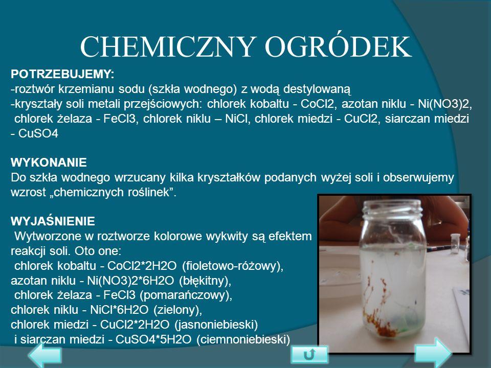 CHEMICZNY OGRÓDEK POTRZEBUJEMY: -roztwór krzemianu sodu (szkła wodnego) z wodą destylowaną -kryształy soli metali przejściowych: chlorek kobaltu - CoC