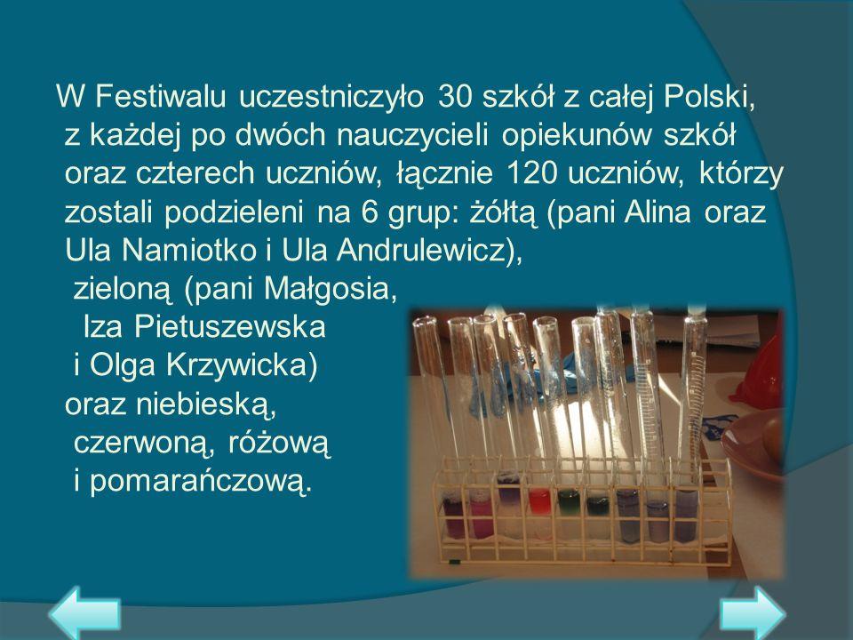 W Festiwalu uczestniczyło 30 szkół z całej Polski, z każdej po dwóch nauczycieli opiekunów szkół oraz czterech uczniów, łącznie 120 uczniów, którzy zo