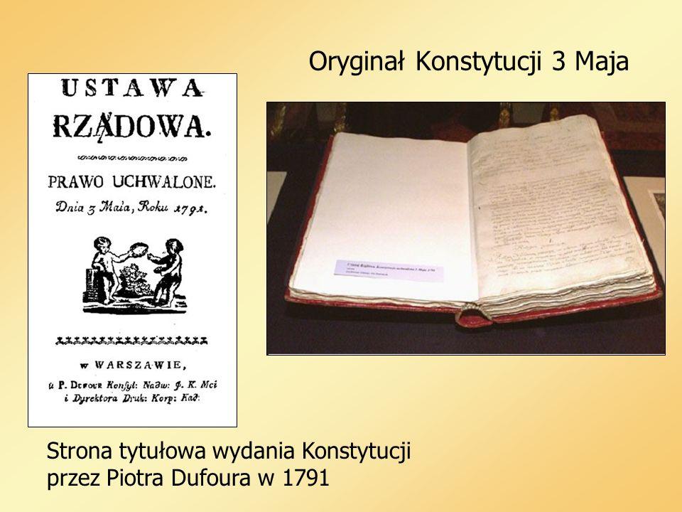 Oryginał Konstytucji 3 Maja Strona tytułowa wydania Konstytucji przez Piotra Dufoura w 1791