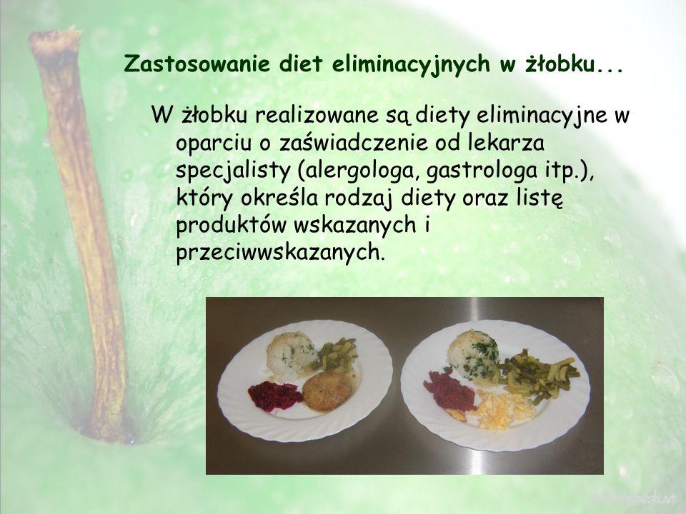 Zastosowanie diet eliminacyjnych w żłobku... W żłobku realizowane są diety eliminacyjne w oparciu o zaświadczenie od lekarza specjalisty (alergologa,