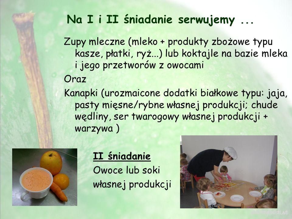 Na I i II śniadanie serwujemy... Zupy mleczne (mleko + produkty zbożowe typu kasze, płatki, ryż...) lub koktajle na bazie mleka i jego przetworów z ow