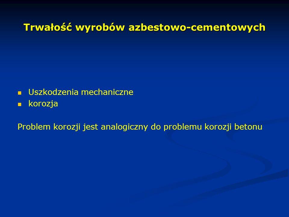 Trwałość wyrobów azbestowo-cementowych Uszkodzenia mechaniczne korozja Problem korozji jest analogiczny do problemu korozji betonu