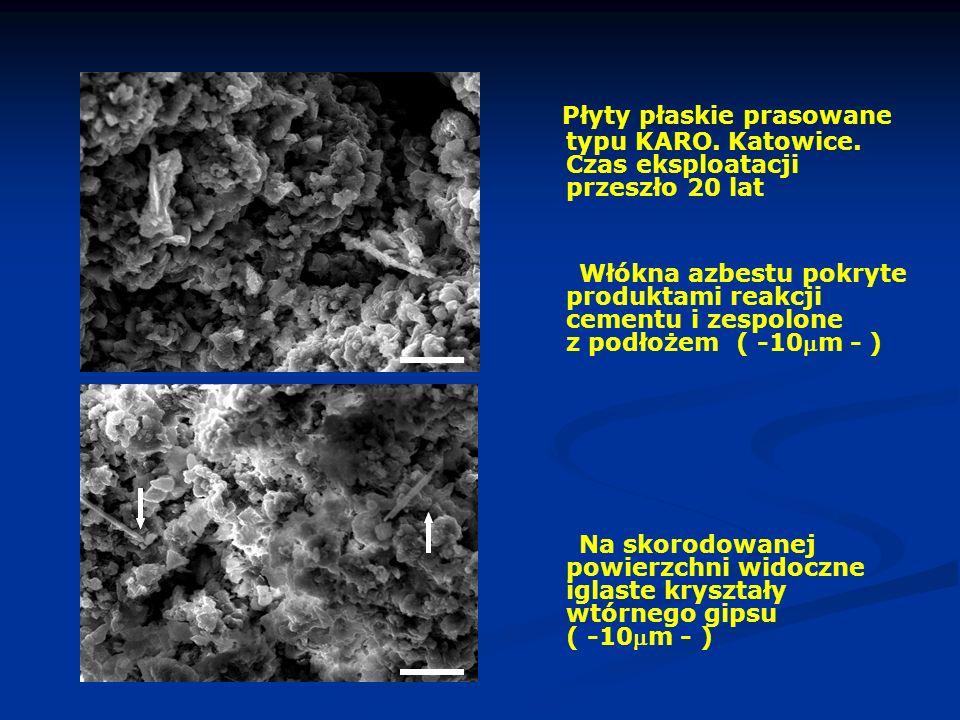 Płyty płaskie prasowane typu KARO. Katowice. Czas eksploatacji przeszło 20 lat Włókna azbestu pokryte produktami reakcji cementu i zespolone z podłoże