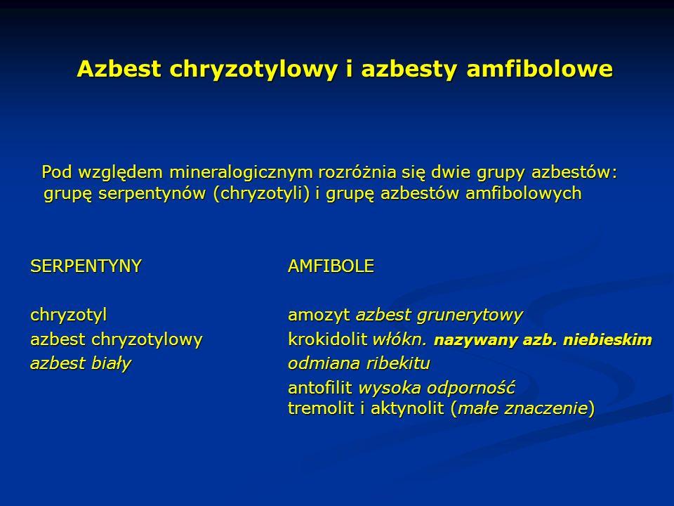 Azbest chryzotylowy i azbesty amfibolowe Pod względem mineralogicznym rozróżnia się dwie grupy azbestów: grupę serpentynów (chryzotyli) i grupę azbest