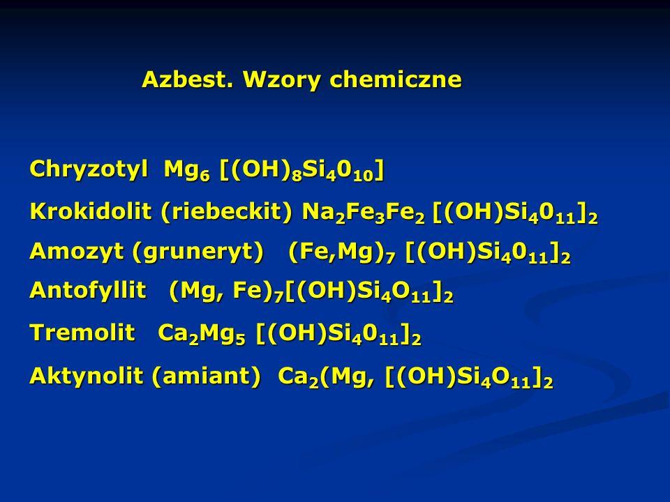 Azbest. Wzory chemiczne Chryzotyl Mg 6 [(OH) 8 Si 4 0 10 ] Krokidolit (riebeckit) Na 2 Fe 3 Fe 2 [(OH)Si 4 0 11 ] 2 Amozyt (gruneryt) (Fe,Mg) 7 [(OH)S