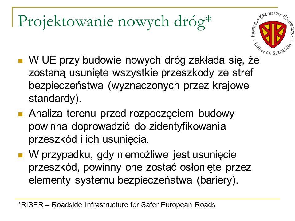 Projektowanie nowych dróg* W UE przy budowie nowych dróg zakłada się, że zostaną usunięte wszystkie przeszkody ze stref bezpieczeństwa (wyznaczonych p