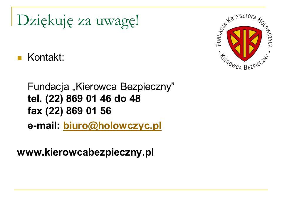 Dziękuję za uwagę! Kontakt: Fundacja Kierowca Bezpieczny tel. (22) 869 01 46 do 48 fax (22) 869 01 56 e-mail: biuro@holowczyc.plbiuro@holowczyc.pl www