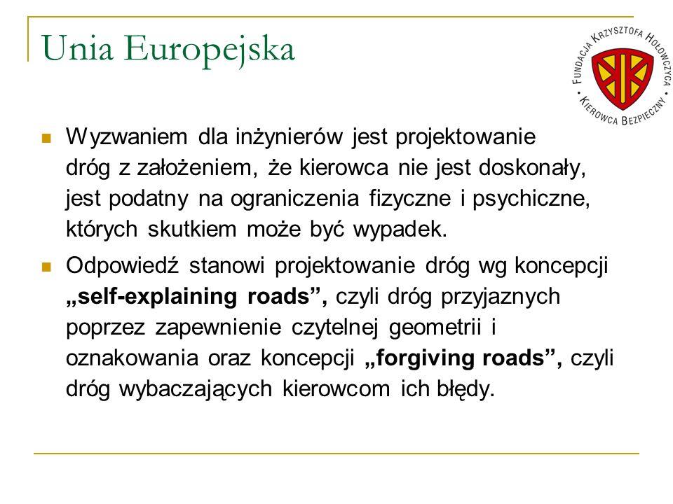 Unia Europejska Wyzwaniem dla inżynierów jest projektowanie dróg z założeniem, że kierowca nie jest doskonały, jest podatny na ograniczenia fizyczne i